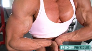 Don't worry - she trains upper body too - and TONS of FLEXING - look at that tremendous chest! - JOIN PremiumPhysiques now!