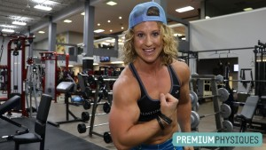 Alli has guns for days!  HUGE massive arms flexing for you - JOIN PremiumPhysiques now!
